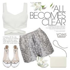 """""""Yoins - clean outfit"""" by purpleagony ❤ liked on Polyvore featuring Nine West, clean, allwhite and summerfashion"""