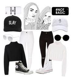 """Best Friend Goals-- Black and White"" by magc0n123 ❤ liked on Polyvore featuring DKNY, Balmain, Miu Miu, Smoke x Mirrors, Converse, Boohoo and Missguided"