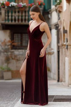 5545546ef510 Sexy red evening dress. This beautiful Heather Velvet dress with high  split. Perfect for