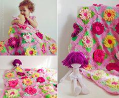 3d flower blanket