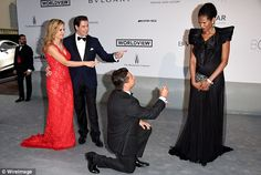 Part of the romance: John Travolta and Kelly Preston watched as Oscar Generale proposed to...