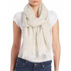 Eileen Fisher Silk and Alpaca Fringe Scarf ($138) ❤ liked on Polyvore featuring accessories, scarves, beige, silk scarves, fringe scarves, silk shawl, alpaca scarves and fringed shawls
