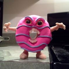 Pink Frosted Killer Donut original polymer clay lowbrow Art Toy Sculpt Homer Simpson's greatest enemy by Parabolastar on Etsy