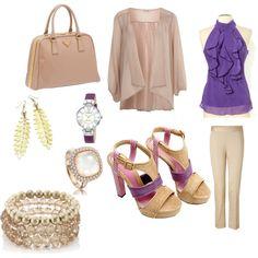 Purple & nude  Cute office outfit.