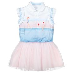 Blouse Dress, Tulle Dress, Designer Dresses For Kids, Pink Tulle, Cotton Blouses, Pink Girl, Pretty In Pink, Blue Dresses, Ballet Skirt