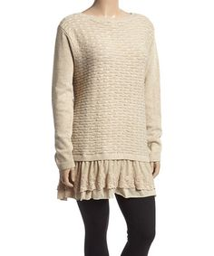 Look at this #zulilyfind! Beige Textured-Knit Ruffle Layered Sweater - Plus #zulilyfinds