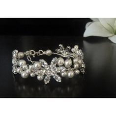 Perlen Kristallblüten Armband Hochzeit