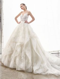 Make your modern fairytale wedding dreams come true in this romantic, full-length ball gown featuring the dreamiest tiered tulle skirt with an elegant horsehair hem. Orange Wedding Guest Dresses, Wedding Dress Pictures, Luxury Wedding Dress, New Wedding Dresses, Bridal Dresses, Bridesmaid Dresses, Gown Wedding, Elegant Wedding, Wedding Ceremony