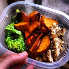 Chicken, sweet potato and broccoli. Pre layered with cottage cheese