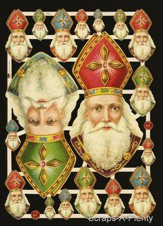 German Victorian Style Embossed Scrap Die Cut -Christmas / Easter / Santa EF7410