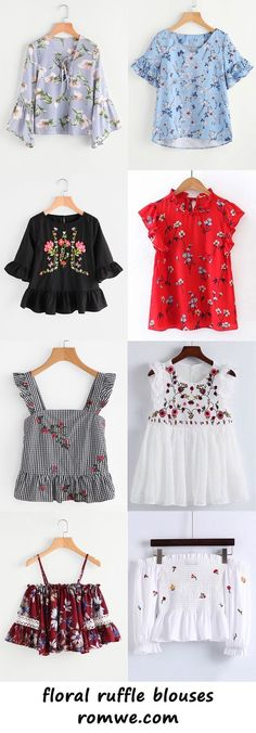 floral ruffle blouses - romwe.com