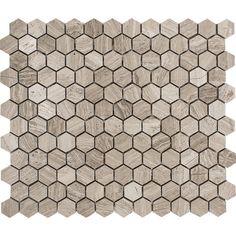 "Wood Grain Hexagon 1"" x 1"" Stone Mosaic Tile in Gray Polished"
