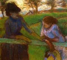 The Conversation, 1889 by Edgar Degas. Impressionism. genre painting. Private Collection