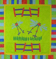 """Bouncy Baby Buggies"""" Baby Quilt by Terry White Free Quilt Pattern: Baby Quilts To Make, Baby Quilt Tutorials, Baby Buggy, Thread Painting, Thread Work, Quilt Patterns Free, Fabric Art, Quilting Ideas, Quilt Making"""