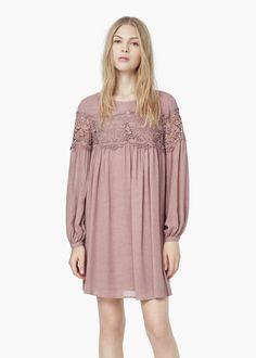 Guipure panel dress - Dresses for Women | MANGO