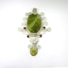 Green Jade Necklace, Nephrite Pendant, Green Nephrite, Jade Wire Pendant by LeviathanJewelry on Etsy #obsidiannecklace #obsidianjewelry #womensjewelry