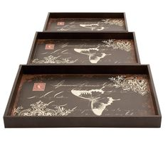 3 Piece Wooden Butterfly Tray Set