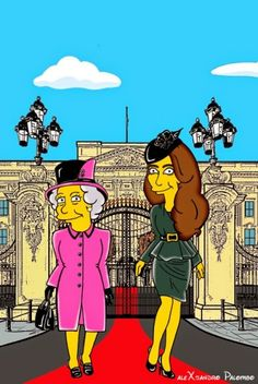 Kate and The Queen Simpsonized