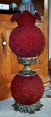 RARE Vintage Fenton Ruby Red Satin Glass Poppy Pattern GWTW Lamp Excellent | eBay