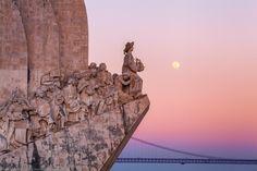 Full Moon at Padrão dos Descobrimentos, Monument to the Discoveries, Belem, Lisbon, Portugal