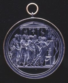 Circular plaque/pendant; rock crystal; engraved in intaglio with sacrifice by eight people,Europe,ca. 1520.