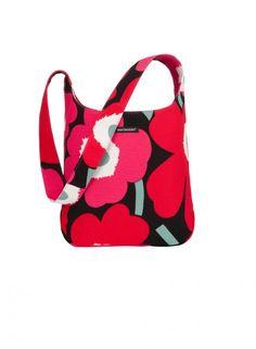 Marimekko fabric bags with pattern Marimekko Fabric, Scandinavia Design, Fabric Bags, Textile Prints, Red And Pink, Diaper Bag, Reusable Tote Bags, My Style, Pattern