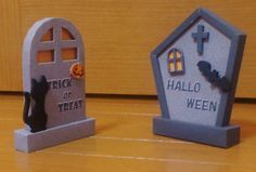Halloween Special - Thumbstones Paper Models - by Diary Of Ucchon - == -  Halloween is coming and here are two cute paper models of Thumbstones to decorate this so special day. By Diary of Ucchon, Japanese website.
