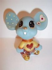 Fenton Glass BLUE VALENTINE's DAY LOVESTRUCK MOUSE GSE Kim Barley LTD ED #1 of 3