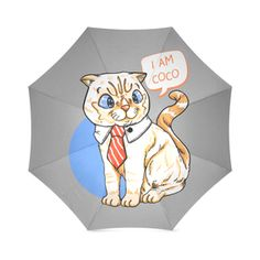 Coco Cat with Tie Foldable Umbrella