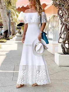 Casual Dresses, Summer Dresses, Maxi Dresses, Long Dresses, Latest Fashion Clothes, Fashion Outfits, Fashion Words, Elegant Maxi Dress, Collars For Women