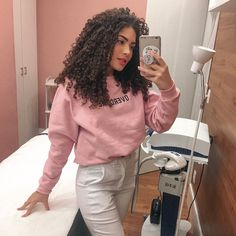 Image may contain: 1 person, standing, phone, selfie and indoor Long Curly Hair, Curly Girl, Curly Hair Styles, Natural Hair Styles, Permed Hairstyles, Modern Hairstyles, Cute Hairstyles, Basic Outfits, Textured Hair