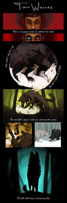Les deux loups par RhythmAx You are in the right place about anime dessin facile Here we offer you t Anime Wolf, Manga Anime, Wolf Quotes, Animal Quotes, Wolf Spirit, Spirit Animal, Deviant Art, Of Wolf And Man, Deep Drawing