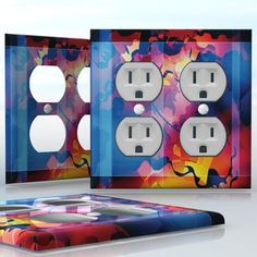 DIY Do It Yourself Home Decor - Easy to apply wall plate wraps | Gears of Time  Oil and gas colors of water  wallplate skin sticker for 2 Gang Wall Socket Duplex Receptacle | On SALE now only $4.95