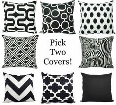 Two Black and White Pillow Covers - 16 x 16 Inch Black Throw Pillow Cover - Decorative Pillow Cushion Cover Accent Pillow