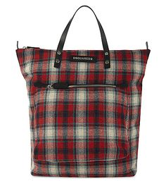 DSQUARED2 Check pattern tote. #dsquared2 #bags #leather #hand bags #tote #