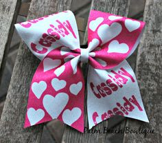 Valentine's Day Cheer Bow Soccer Bow or Softball Bow With Customized Name
