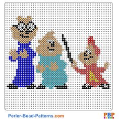 Alvin and the Chipmunks perler bead pattern. Download a great collection of free PDF templates for your perler beads at perler-bead-patterns.com