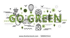 Modern flat thin line design vector illustration, go green infographic concept in greenery color, for graphic and web design.