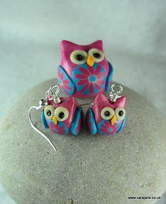 owl earrings, polymer clay Cara Jane