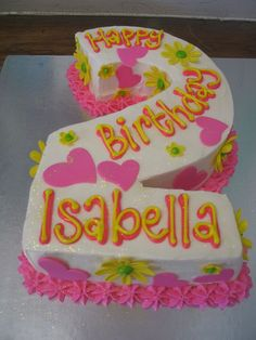 Isabellas number 2 birthday cake with fondant daisies & hearts by Charlys Bakery, via Flickr