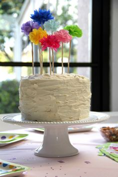 Sweet Rustic Vanilla Buttercream Cake for a Baby Shower - with handmade tissue pom poms