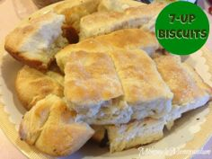 7-UP Biscuits #Recipe  I halved the recipe, used Ginger Ale instead of 7up, melted the butter in my cast iron skillet, and dropped dough into skillet like drop biscuits. Baked them for about 13 minutes. Easy and SO delish!!