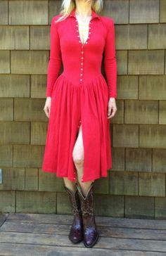 Vtg Betsey Johnson Stretch Cotton Low Waist Full Skirt Dress Snap Buttons  Sz 4-6 081cb344e