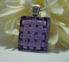 Basketweave Pendant Necklace -  Dichroic Pink and Violet - Fused Glass Jewelry - Handmade - OOAK.