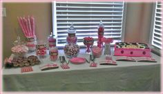 Monkey theme girl baby shower candy table