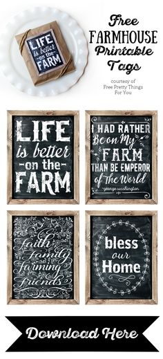 Lovely Farmhouse Printable Tags - Free Pretty Things For You
