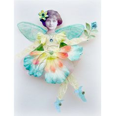 *Jasmine* vintage altered art silk flower fairy paper doll mixed media collage by Kell Belle's Studio, via Flickr