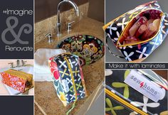 Make this toiletry bag with laminates or other pretty fabrics