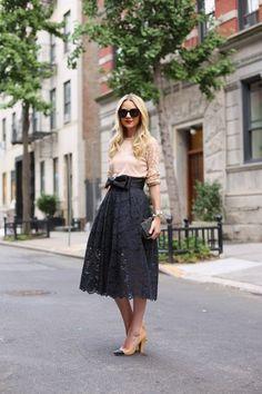 Lace skirt & blush top