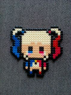 Harley Quinn Hama be Perler Bead Templates, Diy Perler Beads, Perler Bead Art, Pearler Beads, Melty Bead Patterns, Pearler Bead Patterns, Perler Patterns, Peyote Patterns, Pixel Beads